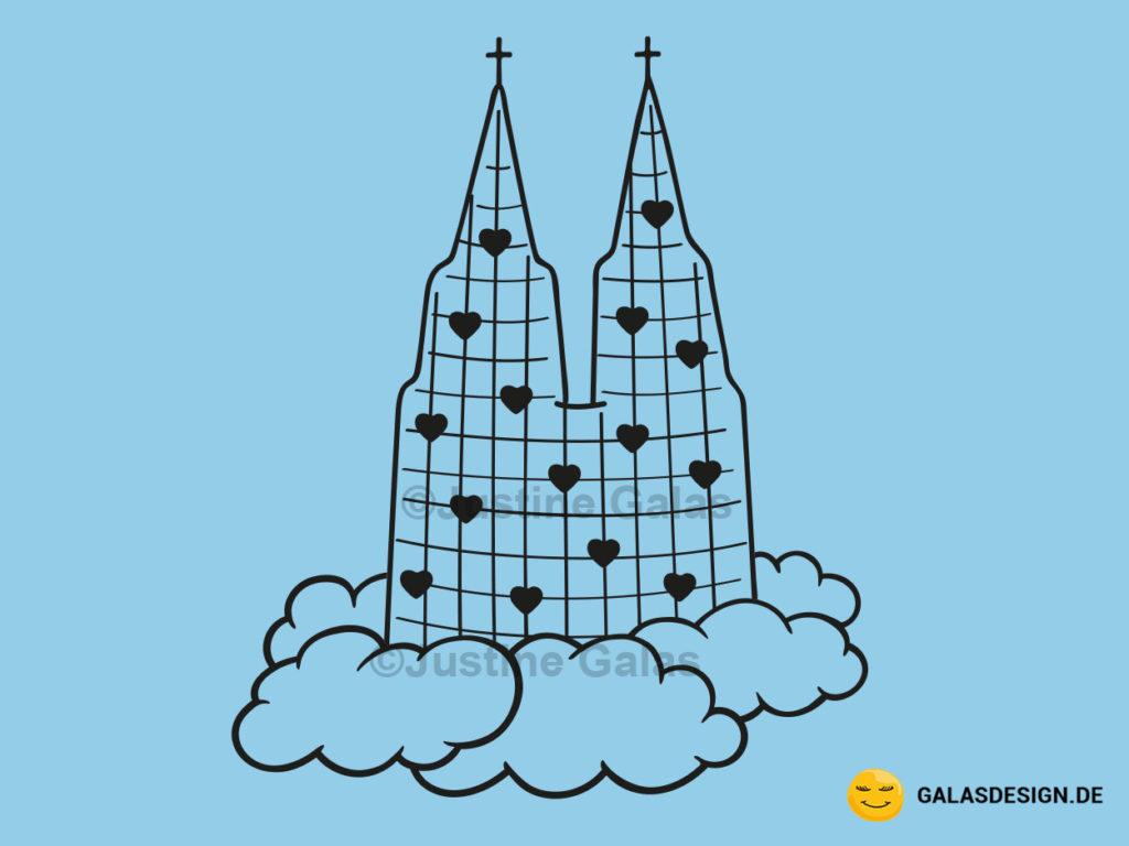 Dom auf Wolke in Schwarz